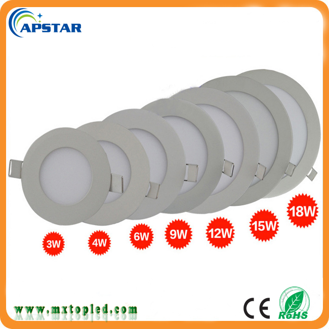 Ultra thin Recessed led ceiling panel light 3W 6W 9W 12W 15W 18W flat square shape 160 beam angle