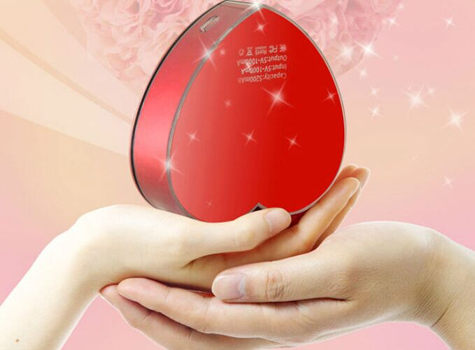 Factory price mini 5200mAh heart shape power bank for women gift