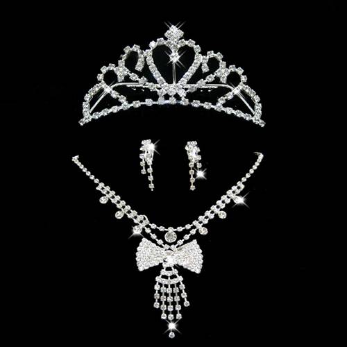 3 Pieces Quality Alloy With Rhinestones Wedding Bridal Jewelry Sets