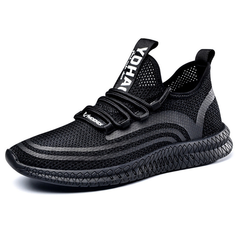 Flyknit Mesh Hollow Breathable Soft Men's Height Increasing 5.5 CM Elevator Sport Shoes Sneaker