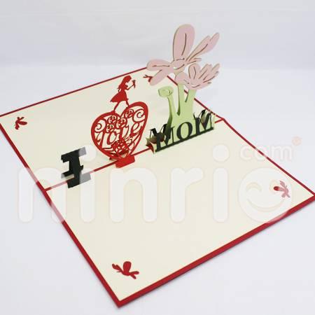 I love mom Pop Up Card Handmade Greeting Card
