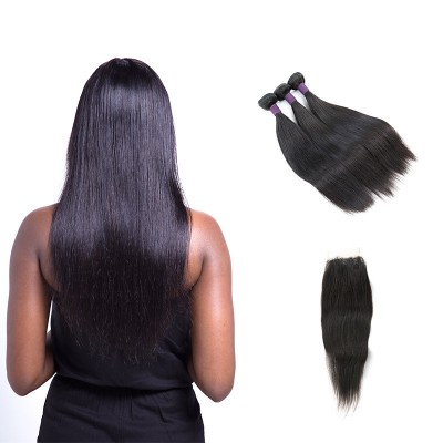 [9A]3 Bundles Brazilian Straight Hair Weave With Lace Frontal