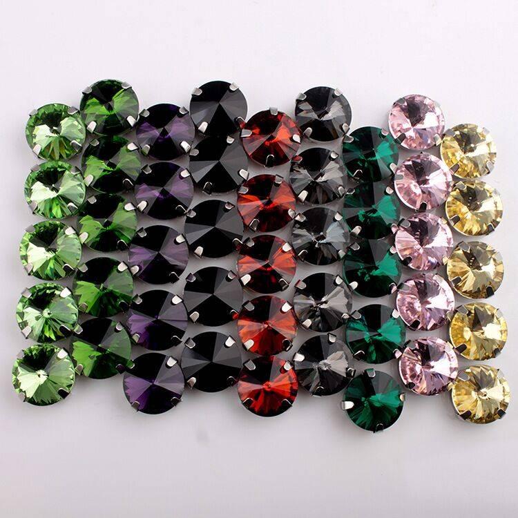 Colorful Rivoli crystal rhinestone/sew on crystals rhinestone with claw setting for clothing accesso
