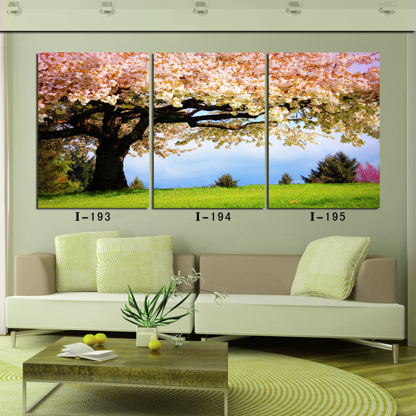 3 piece canvas wall art wall decorations living room pink peach blossom tree scenery canvas prints