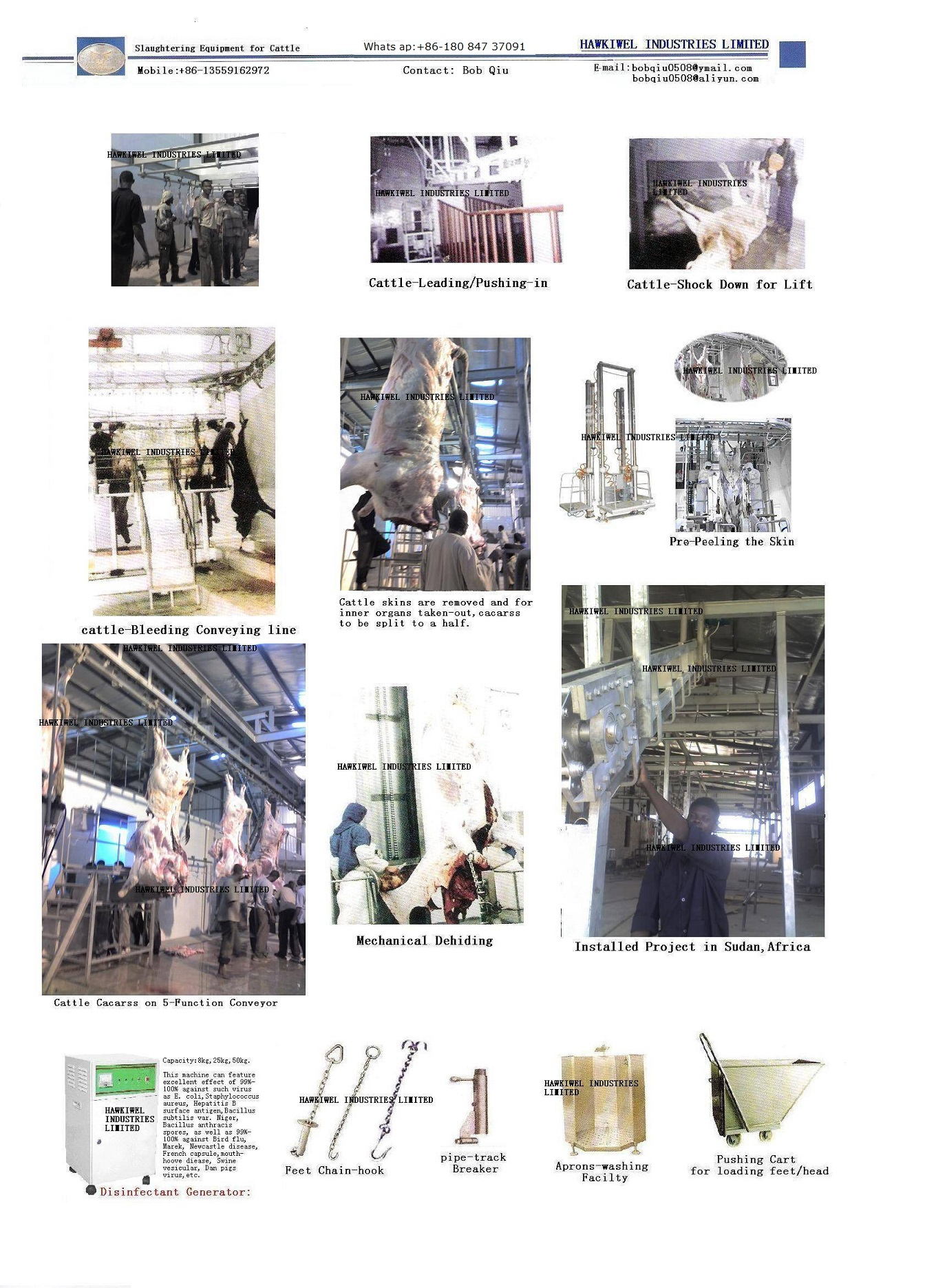 cattle/sheep/pigs slaugthering house equipment/machinery