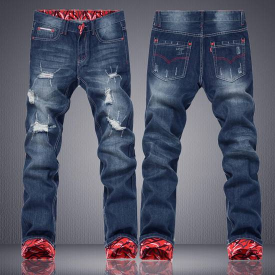 thick male jeans fashion style with holes teenagers jeans trousers