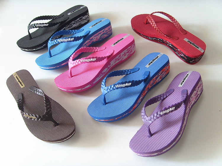 Factory wholesale fashion eva high heel outdoor summer flip flops for woman