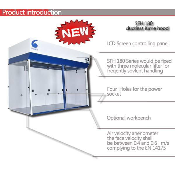 2016 China Newest Ductless Filtering Fume Hood SFH180