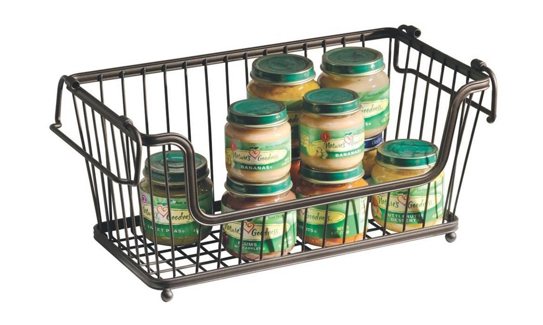 Large Rectangular Stacking Wire Basket, Storage Basket