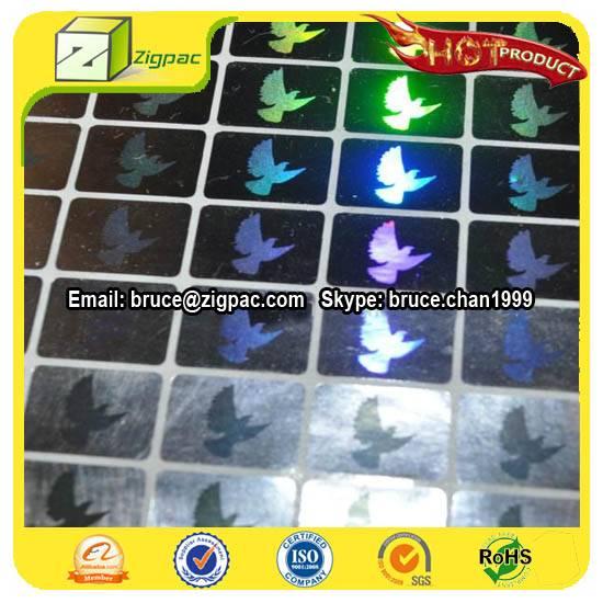 Dove sticker,anti-tamper hologram sticker, visa hologram sticker