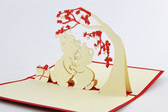 Bear under tree 3D pop up greeting card