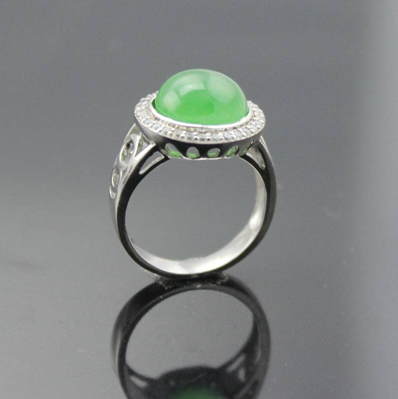 925 silver ring with emerald (R25)