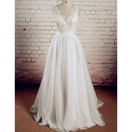 A-LINE TULLE&LACE V-NECK BEADING&FLOWERS BELT WITH BOW SWEEP TRAIN WEDDING DRESS FOR CINDERELLA CAW2