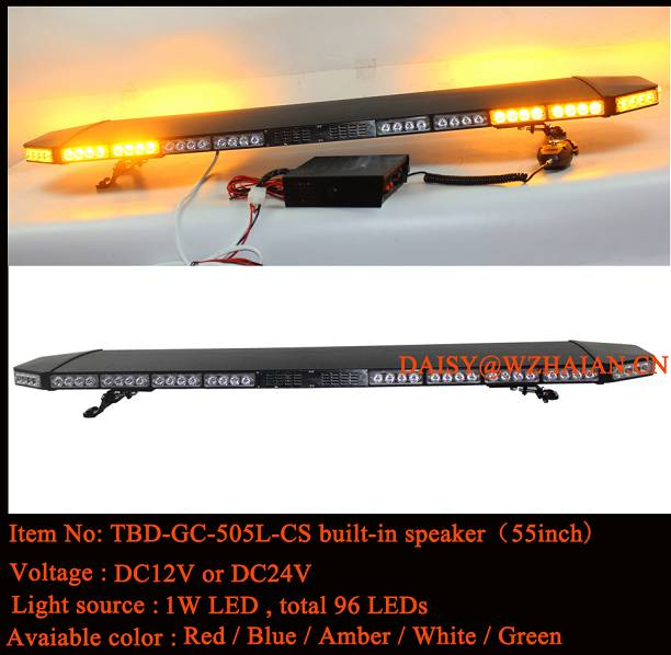 55 inch Black Aluminum Dome Amber LED Safety Lightbar built-in speaker