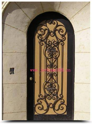 Wrought iron single entry door design