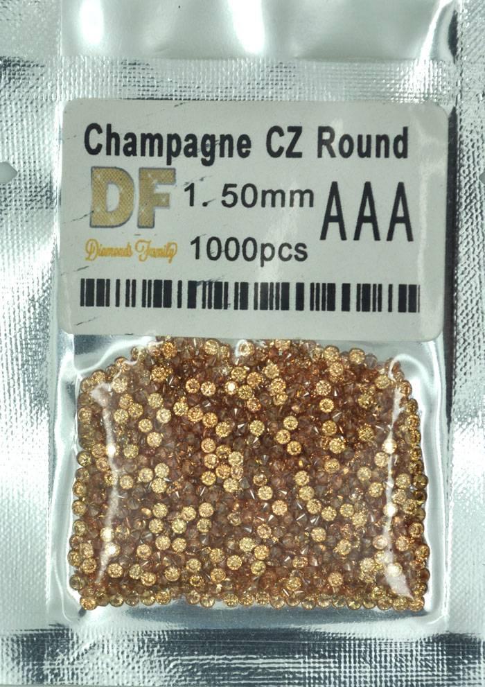 1000pcs 1.5mm Champagne Round CZ Facet Loose Unset Semi-precious Stones Cubic Zirconia Brilliant Cut
