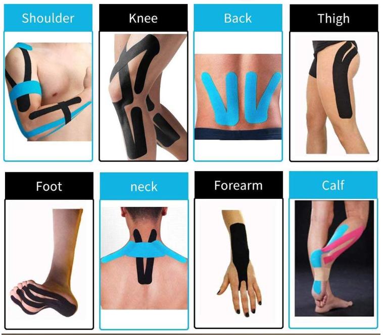 custom athletic elastic sports pre cut kinesiology tape