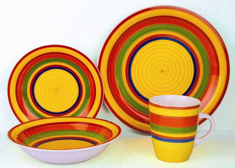 bright color stoneware dinnerware set