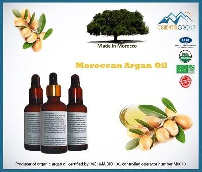 100% Bio certified Organic Argan oil in glass bottle with dropper