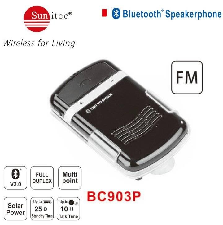 Solar auto power on bluetooth in-car speakerphone