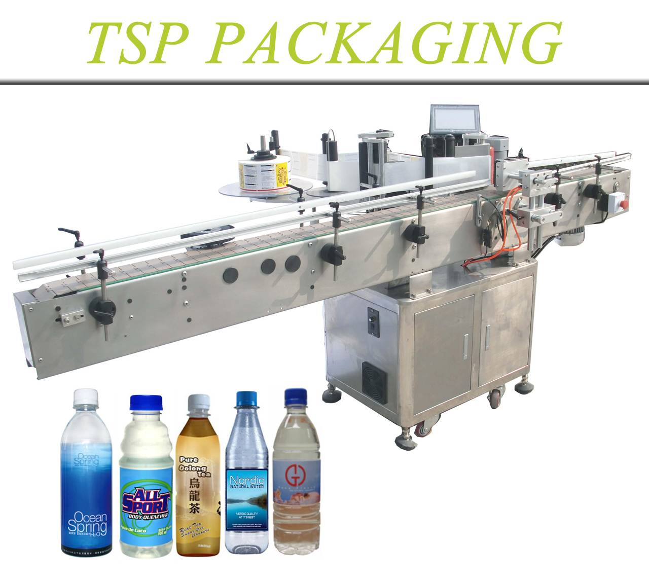 TSP adhesive sticking type automatic labeling system single or double sides for round bottle