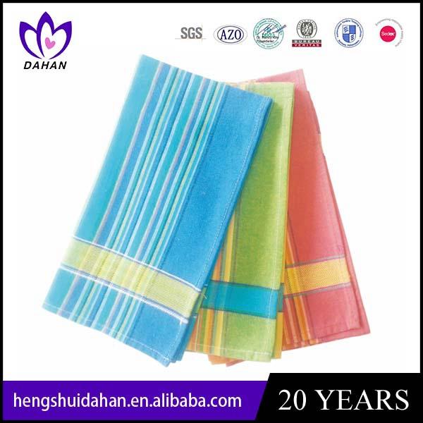 colorful yarn-dyed strip tea towel