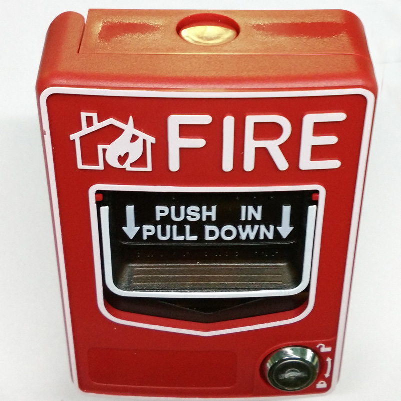 conventional Manual Call Point alarm button or Fire Alarm Systems and Security Alarm system