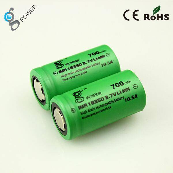 Gpower IMR18350 battery 3.7V 700mah rechargeable battery flat top/button top battery in stock