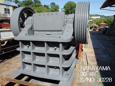 "USED ""NAKAYAMA"" 30"" X 8"" SINGLE TOGGLE JAW CRUSHER S/NO. 30228"