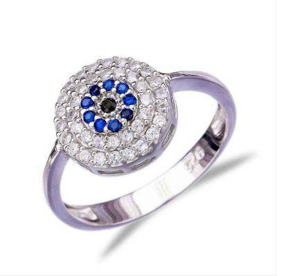 925 Sterling Silver Evil Eye Ring With Blue, Black, White CZ
