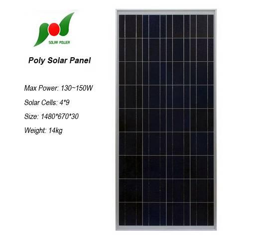 135W high efficiency solar panel for solar power systems