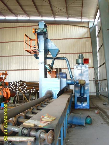 Dingtai roller conveyor through type steel pipe shot blasting machine