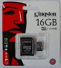 Original Kingston Digital 16 GB microSDHC Class 10 UHS-1 Memory Card 30MB/s with Adapter - SDC10/16G