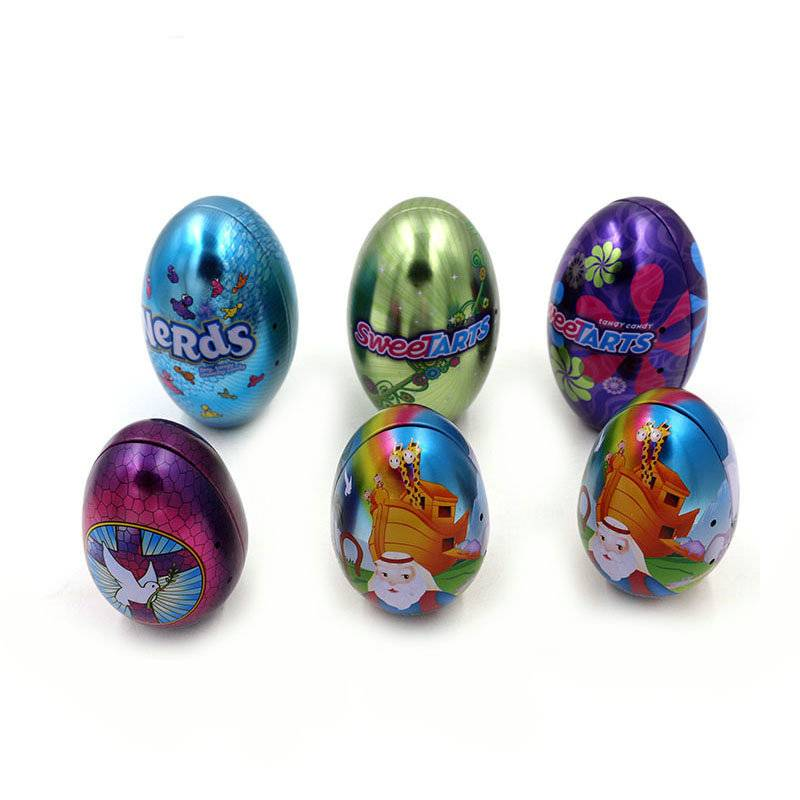Easter egg shape candy packaging tin box