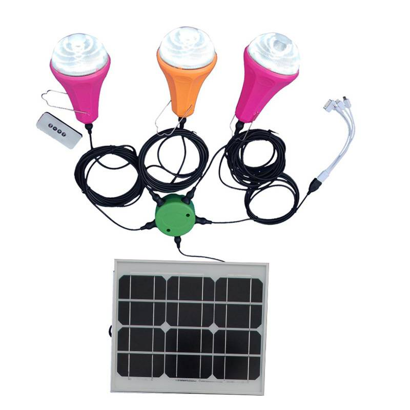 LED Solar Portable Home Lamp Bulbs Kit with 15W Solar Panel with phone charger