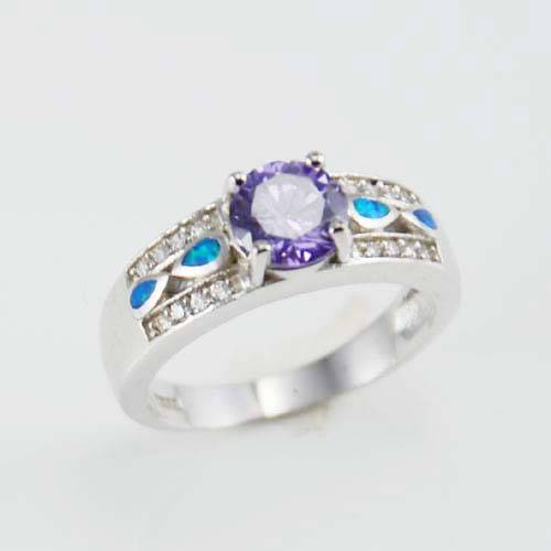 Women fashion silver jewelry opal ring