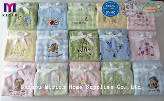 Micro Plush Soft Printed Baby Pram Blanket with Embroidery