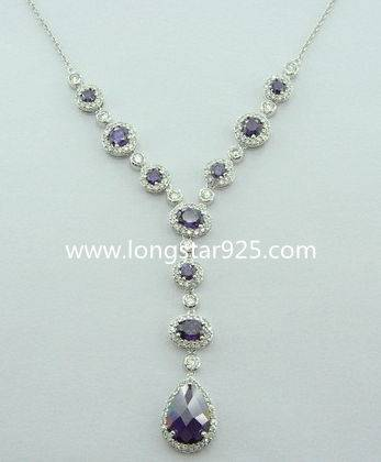 Big Stone Fashion Jewelry Dubai Sterling Silver Chains Necklaces