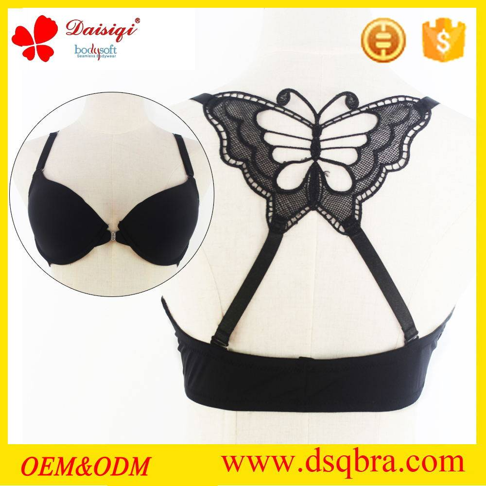 2016 nylon and spandex material ladies underwear beautiful back bra