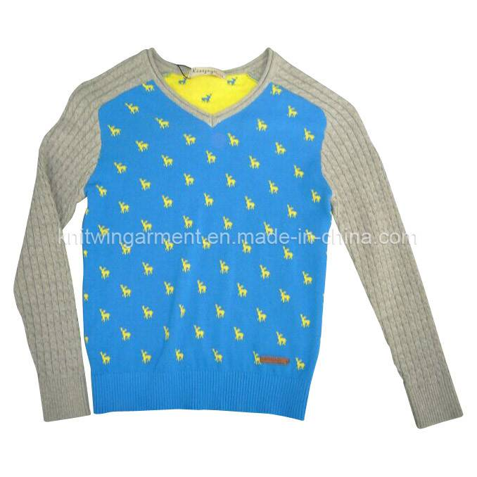 100% cotton Children sweater in round neck long sleeve