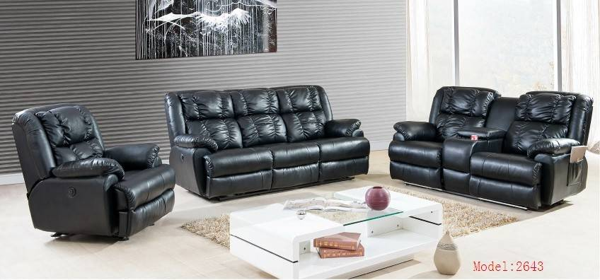 Foshan black leather recliner sofa