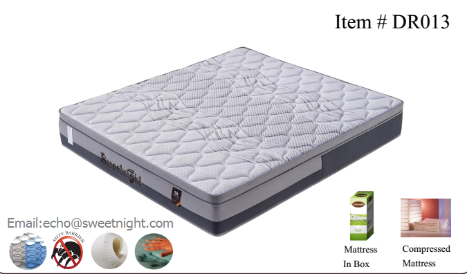 2017euro-top hotel mattress with memory foam and innerspring, compressed and roll up in box