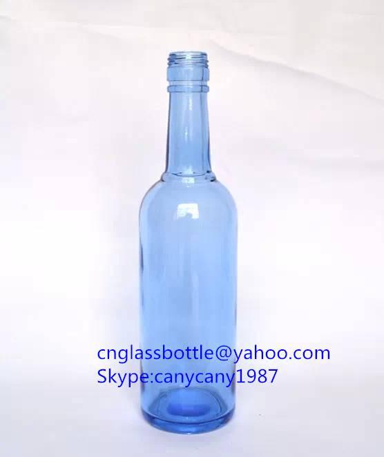 blue glass vodka bottles 450ml