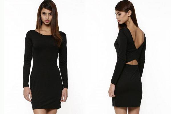Fashion design black bodycon long sleeve dress for women