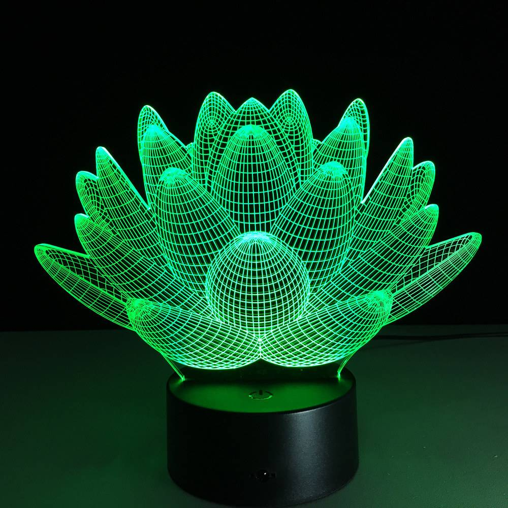 3D Plant RGB LED Night Lights Table Lamp For Home Dcoration