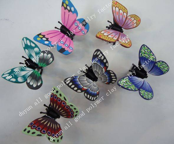 new design! polymer clay butterfly hair clip claw
