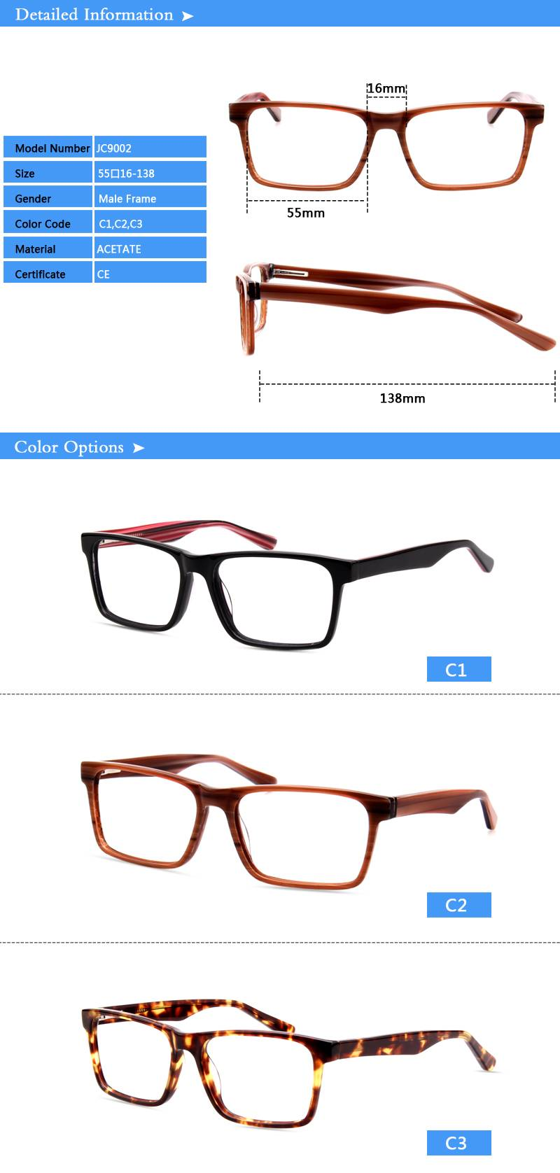 Fashion design acetate eyewear optical frame JC9002 ready in stock