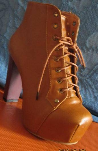 American Jeffrey Campbell Ankle Boot Square Toe Apricot Black Brown Color Sold On www.merryshoes.com