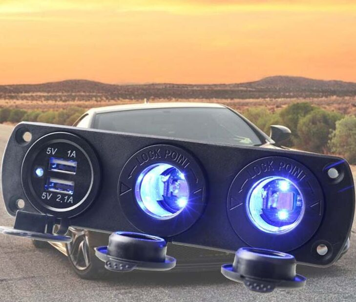 5V/3.1A 12v Dual Usb Charger Socket Panel Mount With Dual Cigarette Lighter