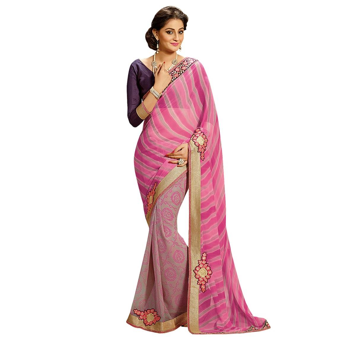 Shonaya Pink Colour Georgette Patch work Sarees With Blouse PieceSGLHR-4833